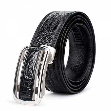 Classic Crocodile Dress Belt, Genuine Crocodile Belt for Men
