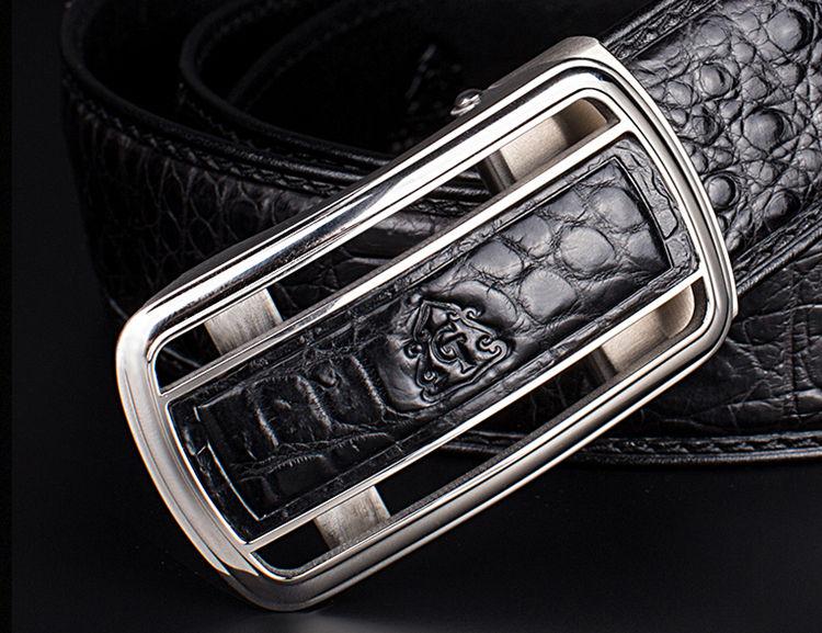 Classic Crocodile Dress Belt, Genuine Crocodile Belt for Men-Buckle