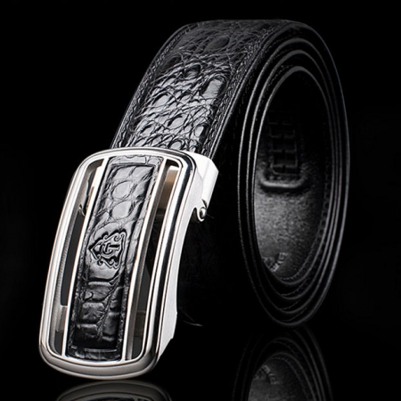 Classic Crocodile Dress Belt, Genuine Crocodile Belt for Men-Exhibition