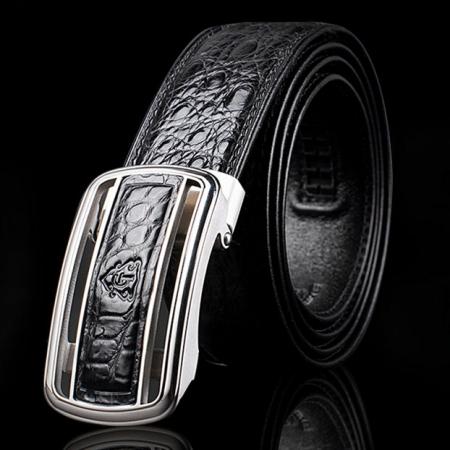 Classic Crocodile Dress Belt, Genuine Crocodile Belt for Men-Exhibition