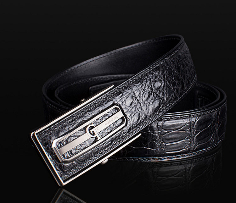 Classic Crocodile Dress Belt, Genuine Crocodile Belt for Men-GT-1