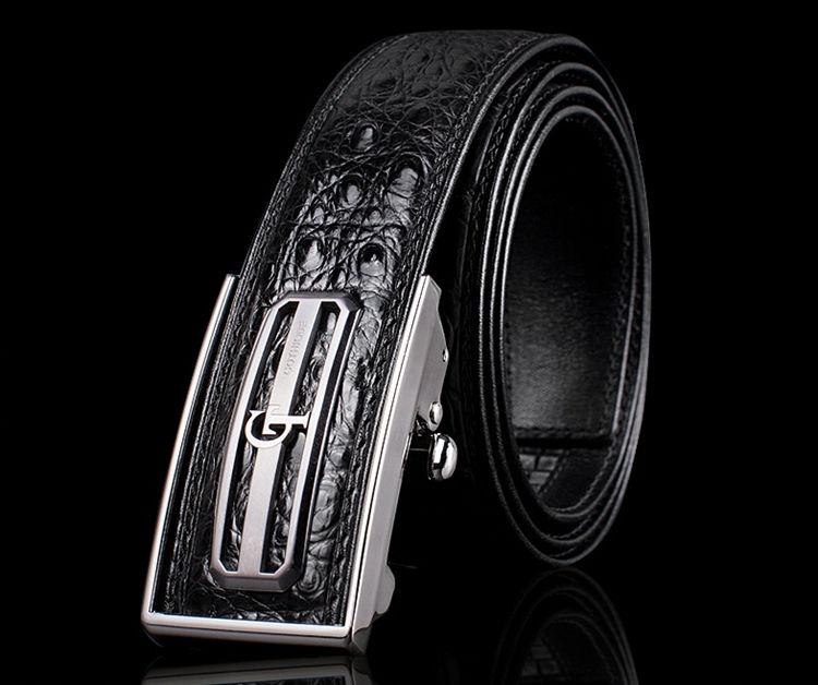 Classic Crocodile Dress Belt, Genuine Crocodile Belt for Men-GT-Exhibition