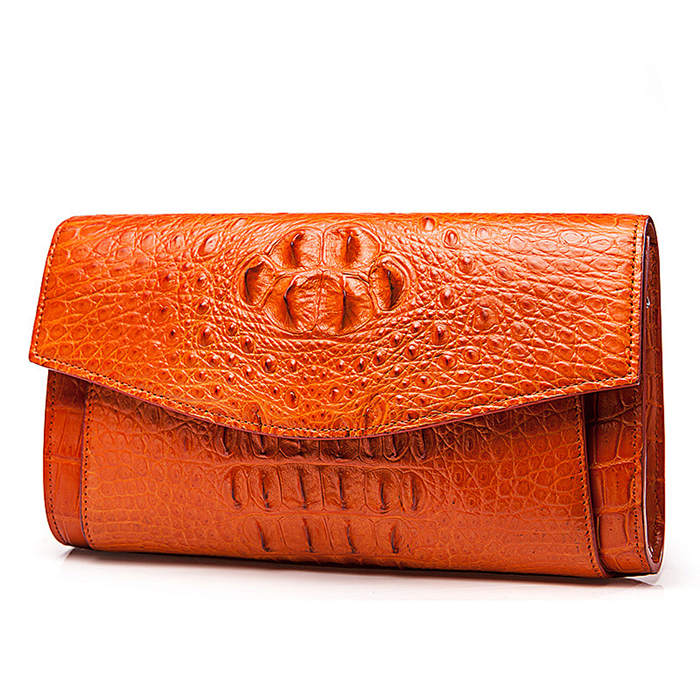 Crocodile Clutch Bag-Brown