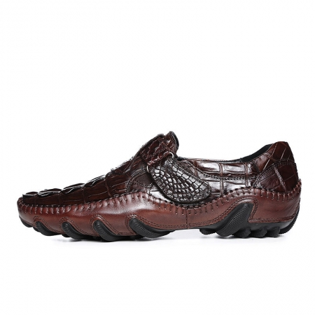 Crocodile Leather Loafers Casual Driving Shoes-Brown-Side