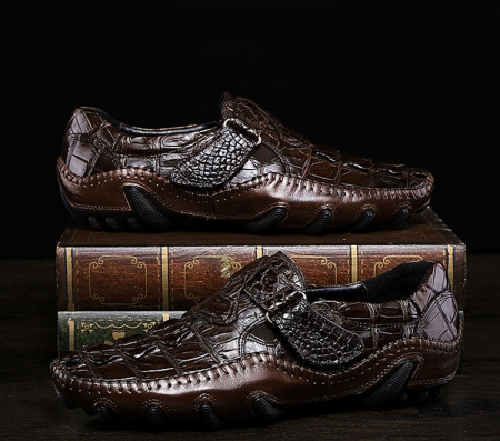 Crocodile Leather Loafers Casual Driving Shoes-Dark Brown-Exhibition
