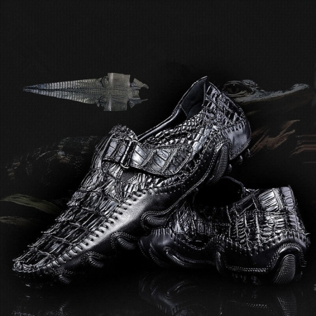 Crocodile Leather Loafers Casual Driving Shoes-Exhibition