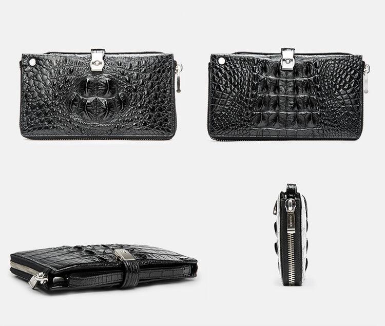 Crocodile Long Bifold Wallet, Designer Business Crocodile Clutch Wallet-1