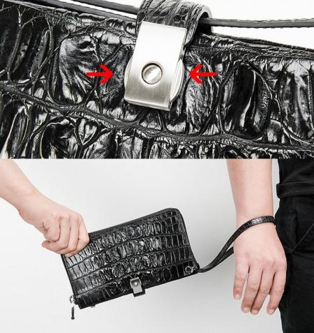 Crocodile Long Bifold Wallet, Designer Business Crocodile Clutch Wallet-2