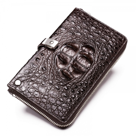 Crocodile Long Bifold Wallet, Designer Business Crocodile Clutch Wallet