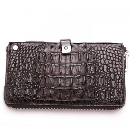 Crocodile Long Bifold Wallet, Designer Business Crocodile Clutch Wallet-Back
