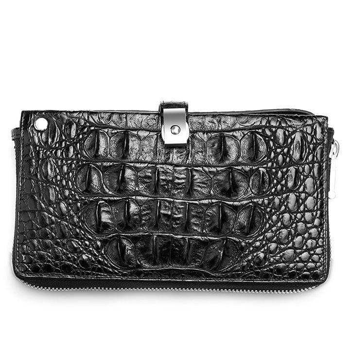 Crocodile Long Bifold Wallet, Designer Business Crocodile Clutch Wallet-Black-Back