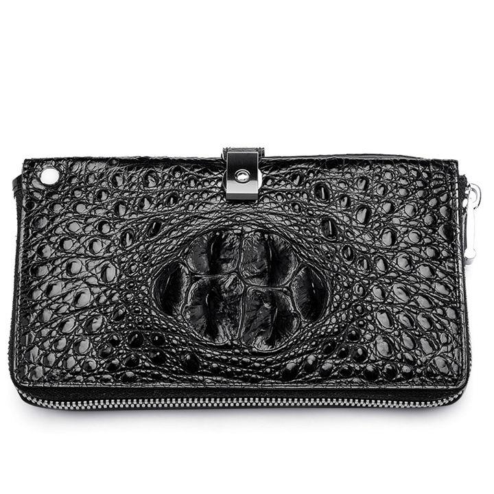Crocodile Long Bifold Wallet, Designer Business Crocodile Clutch Wallet-Black