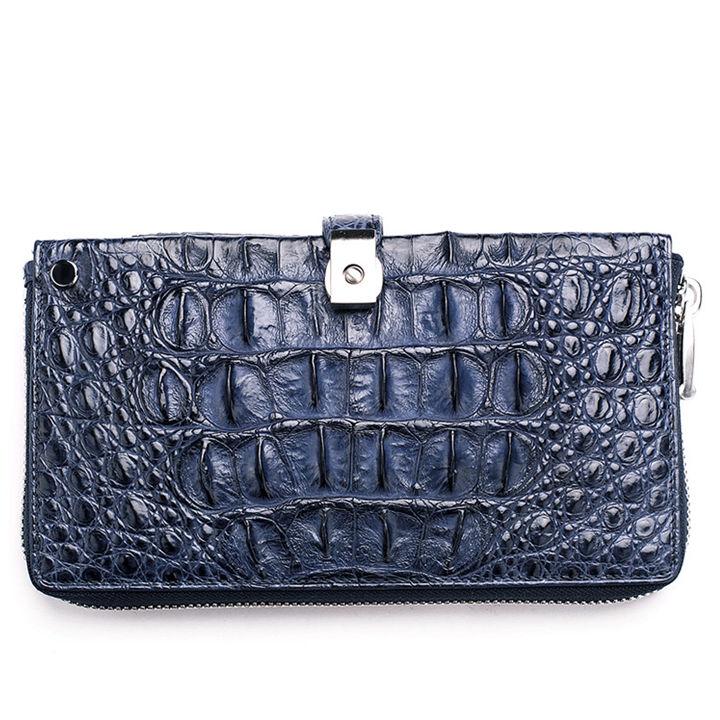Crocodile Long Bifold Wallet, Designer Business Crocodile Clutch Wallet-Blue-Back