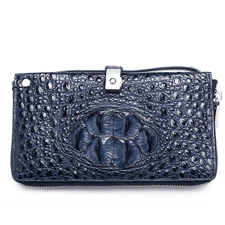 Crocodile Long Bifold Wallet, Designer Business Crocodile Clutch Wallet-Blue