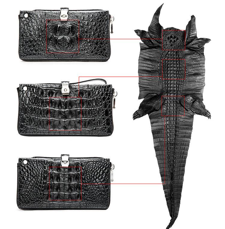 Crocodile Long Bifold Wallet, Designer Business Crocodile Clutch Wallet-Details