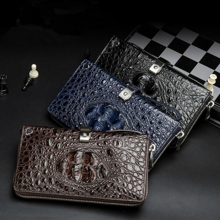 Crocodile Long Bifold Wallet, Designer Business Crocodile Clutch Wallet-Exhibition