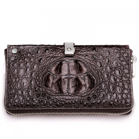 Crocodile Long Bifold Wallet, Designer Business Crocodile Clutch Wallet-Front