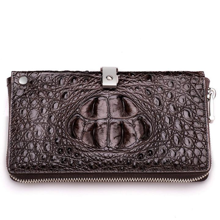 Crocodile Long Bifold Wallet, Designer Business Crocodile Clutch Wallet-Front