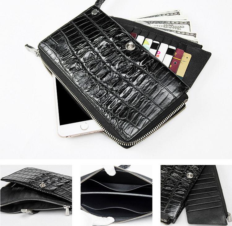 Crocodile Long Bifold Wallet, Designer Business Crocodile Clutch Wallet-Inside