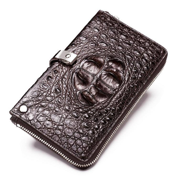 Crocodile Long Bifold Wallet, Designer Business Crocodile Clutch Wallet