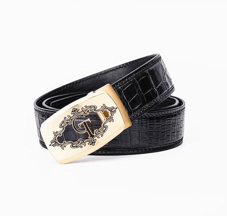 Designer Alligator Belt, Fashion Alligator Belt for Men-Black-1