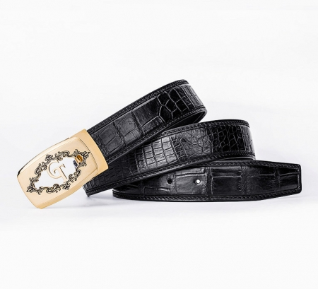 Designer Alligator Belt, Fashion Alligator Belt for Men-Black-Lay