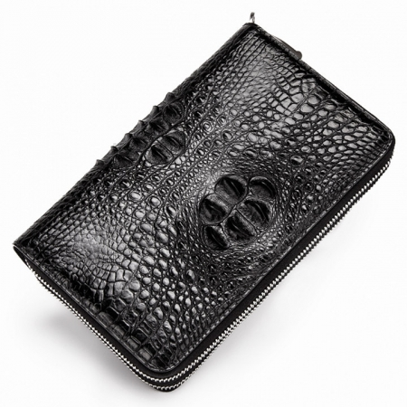 Double Zip Around Crocodile Wallet Large Clutch Organizer with Wristlet