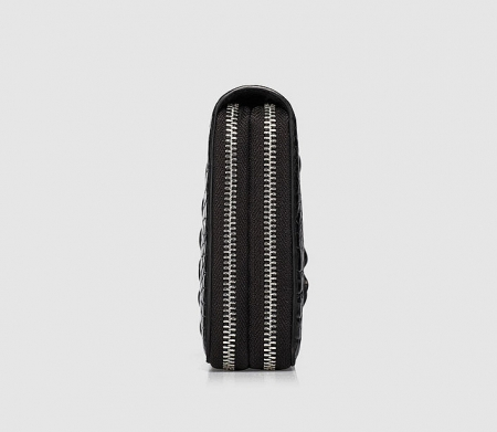 Double Zip Around Crocodile Wallet Large Clutch Organizer with Wristlet-Side