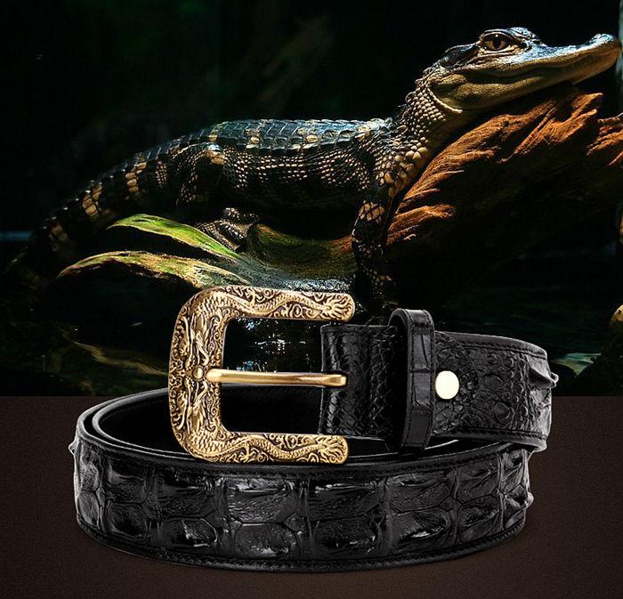 Dragon Pattern Buckle Crocodile Belt, Luxury Crocodile Leather Belt for Men