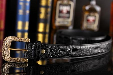 Dragon Pattern Buckle Crocodile Belt, Luxury Crocodile Belt for Men-1