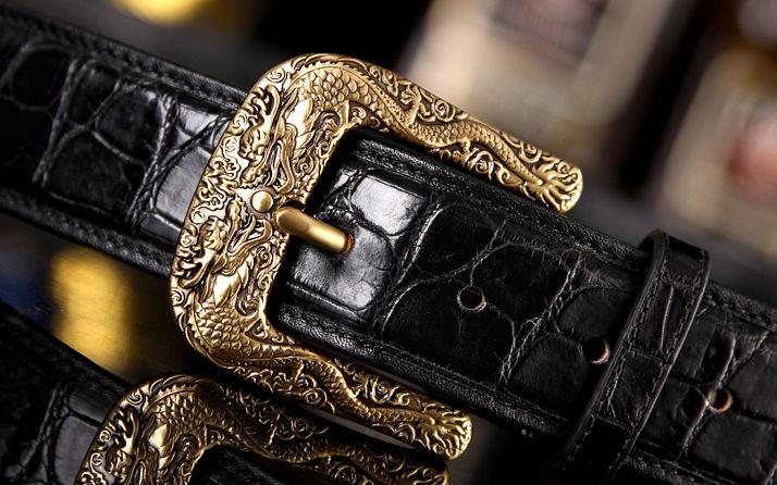 Dragon Pattern Buckle Crocodile Belt, Luxury Crocodile Belt for Men-Buckle