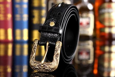 Dragon Pattern Buckle Crocodile Belt, Luxury Crocodile Belt for Men-Exhibition