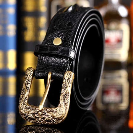 Dragon Pattern Buckle Crocodile Belt, Luxury Crocodile Belt for Men-Exhibition