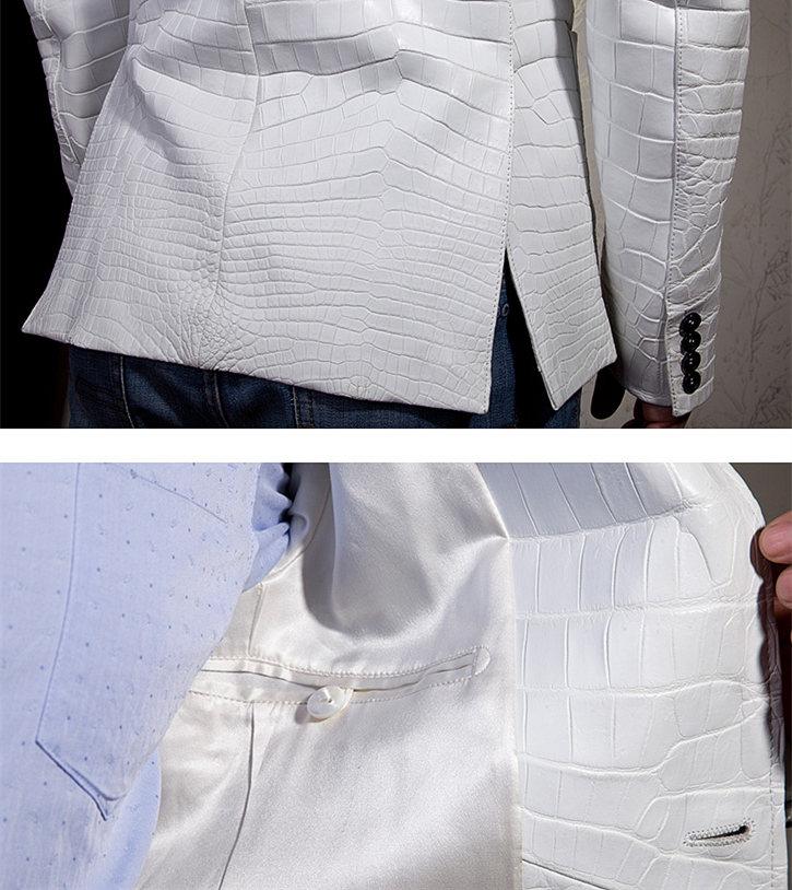 Exotic Alligator Skin Men's Jacket-Details-1