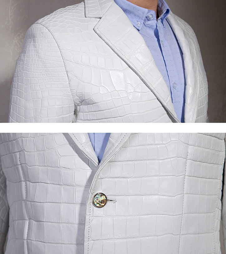 Exotic Alligator Skin Men's Jacket-Details