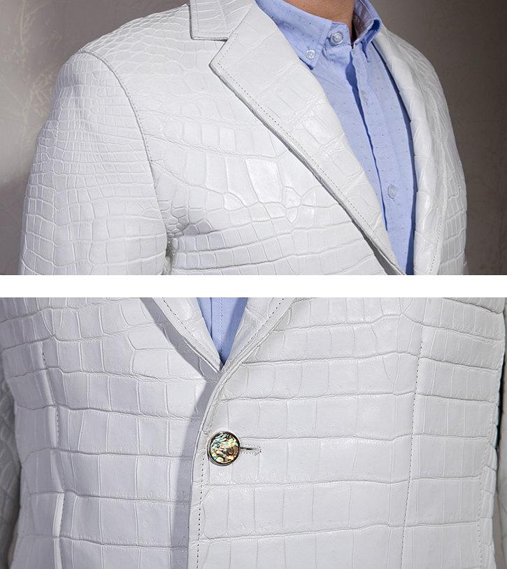 Exotic Alligator Skin Men's Jacket-Details