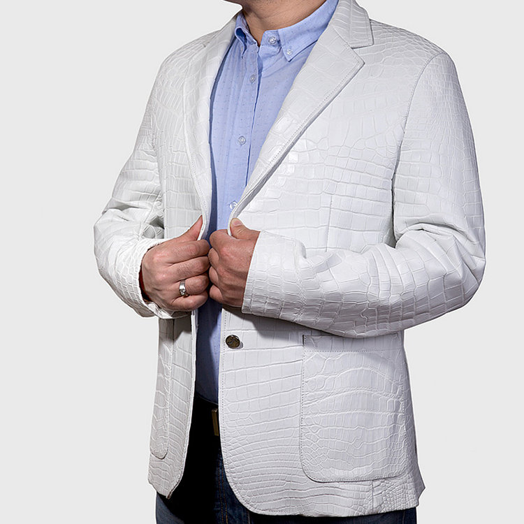 Exotic Alligator Skin Men's Jacket-White-Exhibition