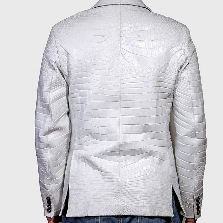 Exotic Alligator Skin Men's Jacket-White
