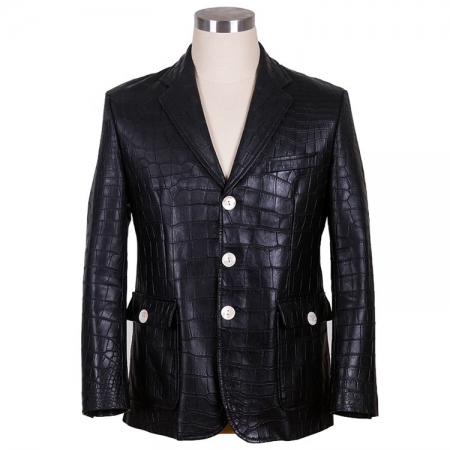Genuine Alligator Skin Jacket-Black
