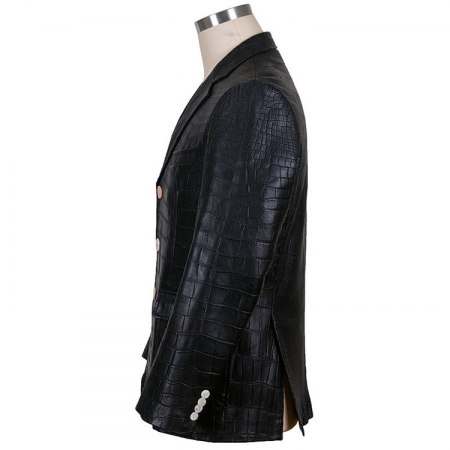 Genuine Alligator Skin Jacket-Black-Side