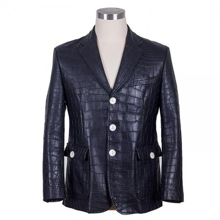 Genuine Alligator Skin Jacket-Dark Blue