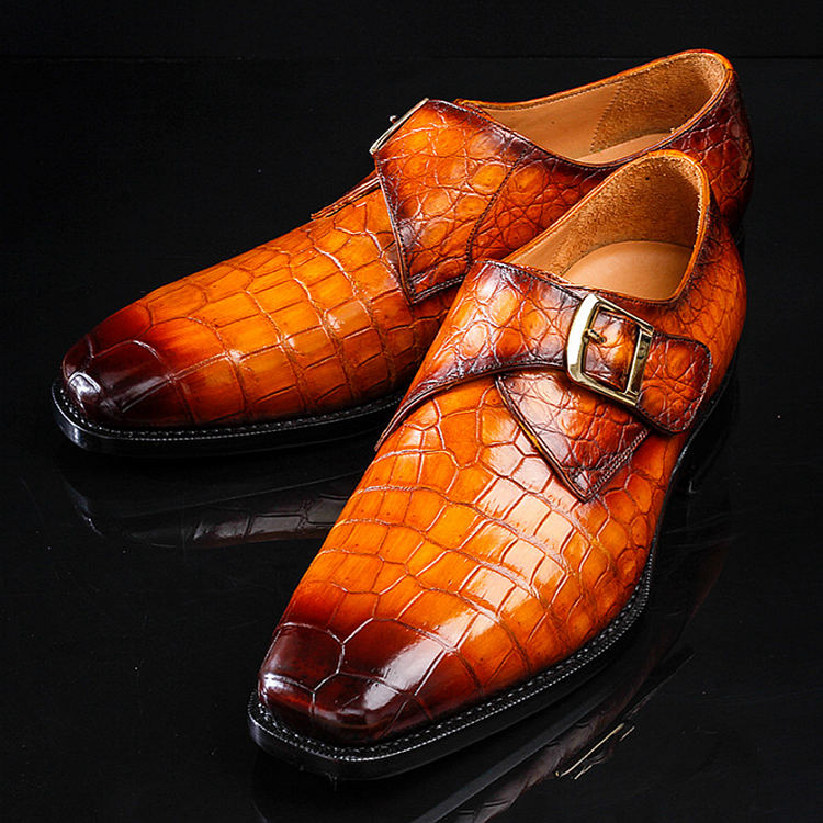 Genuine Mens Alligator Shoes Brown Casual Alligator Shoes-Exhibition