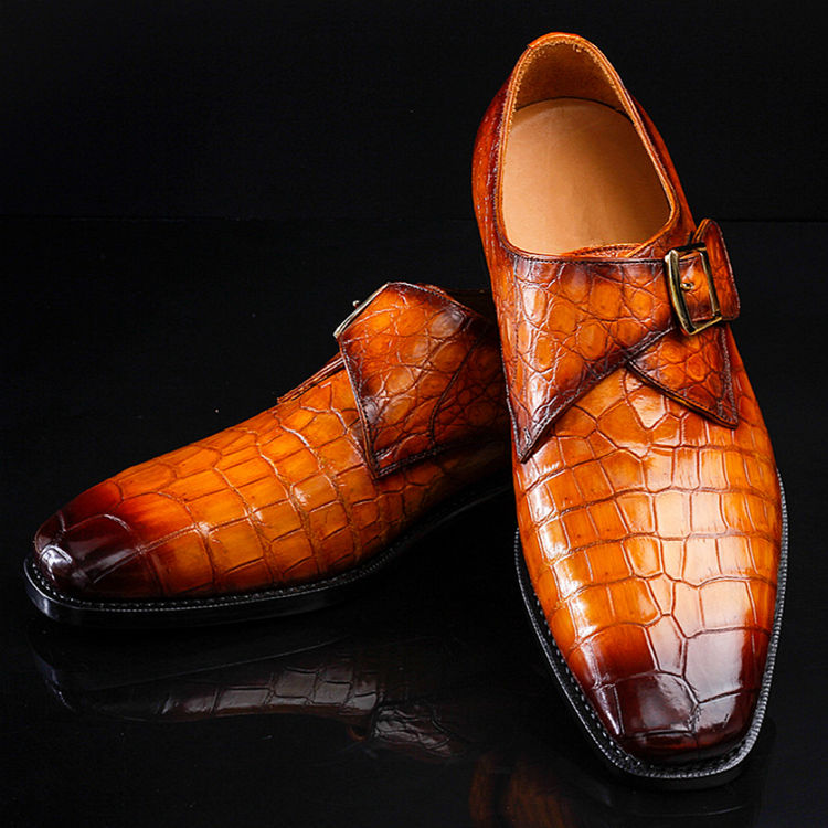 Genuine Mens Alligator Shoes Brown Casual Alligator Shoes