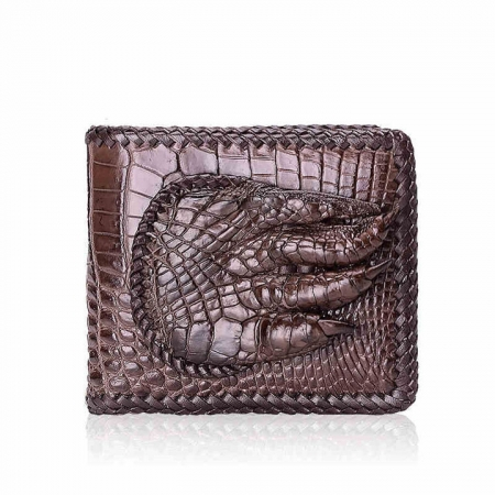 Handmade Crocodile Wallet Pocket Purse for Men-Brown