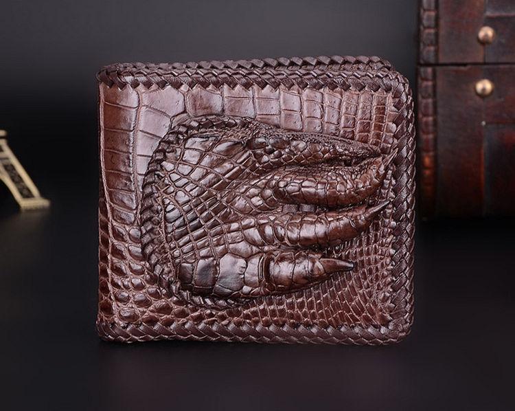 Handmade Crocodile Wallet Pocket Purse for Men-Brown-Front
