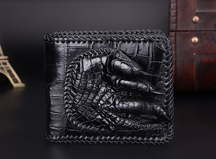 Handmade Crocodile Wallet Pocket Purse for Men-Front