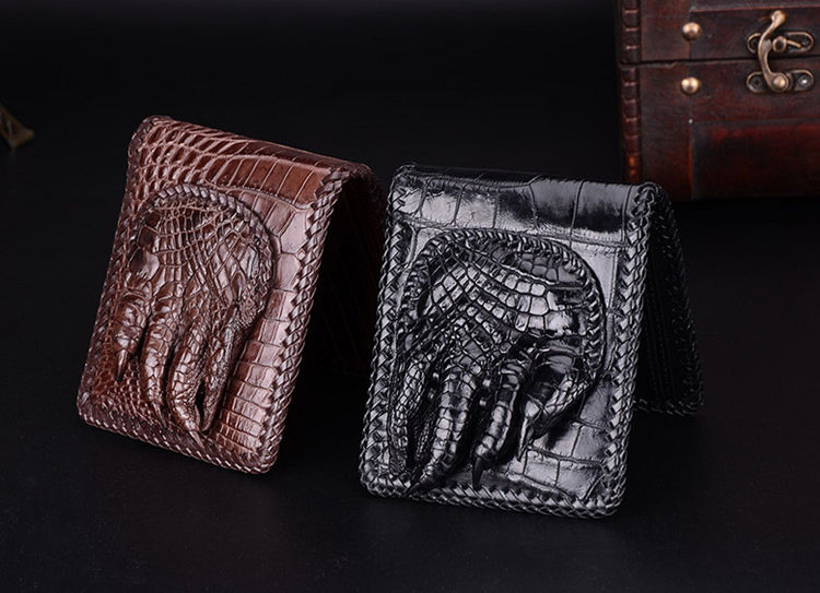 Handmade Crocodile Wallet Pocket Purse for Men-Top