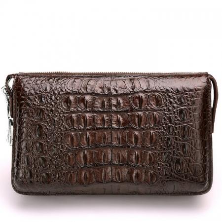 Large Capacity Crocodile Wallet, Casual Crocodile Long Wallet for Men-Brown-Back