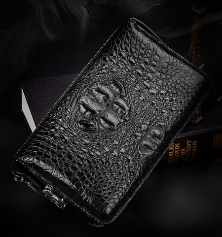 Large Capacity Crocodile Wallet, Casual Crocodile Long Wallet for Men-Exhibition