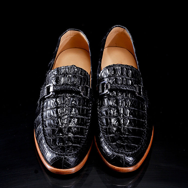 Luxury Handmade Crocodile Boat Shoes-1